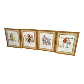 Set of 4 Norman Rockwell Large Framed 4 Seasons Old Buddies Wall Artwork Prints For Sale
