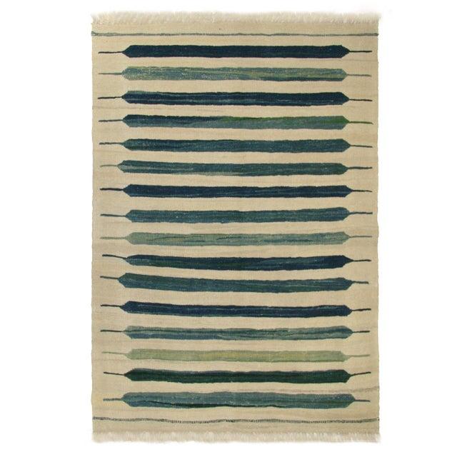 Rug & Relic Blue-Green Flatweave Yeni Kilim - 3'4 x 4'9 For Sale