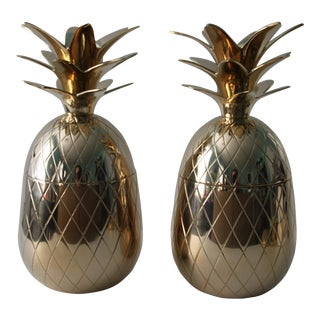 Brass Pineapple Boxes - A Pair For Sale