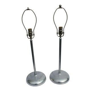 Art Deco Modern Brass Metal Painted Silver Finish Table Lamps - a Pair For Sale
