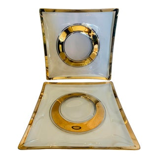 Mid-Century Gold Leaf Glass Trays With Elevated Center- a Pair For Sale