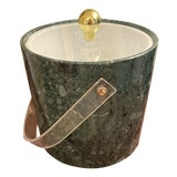 Image of 1960s Mid-Century Faux Green Marble Malachite Ice Bucket For Sale