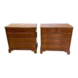 Early 20th-Century English Wood + Inlay Chest of Drawers - a Pair For Sale