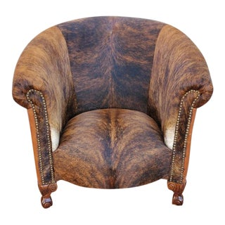 Rustic French Maurice Dufrene Style Barrel Back Club Chair Newly Upholstered For Sale