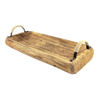 Carved Wood Tray With Handles For Sale