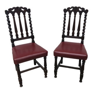 1970s Turned Wooden Chairs** - a Pair For Sale