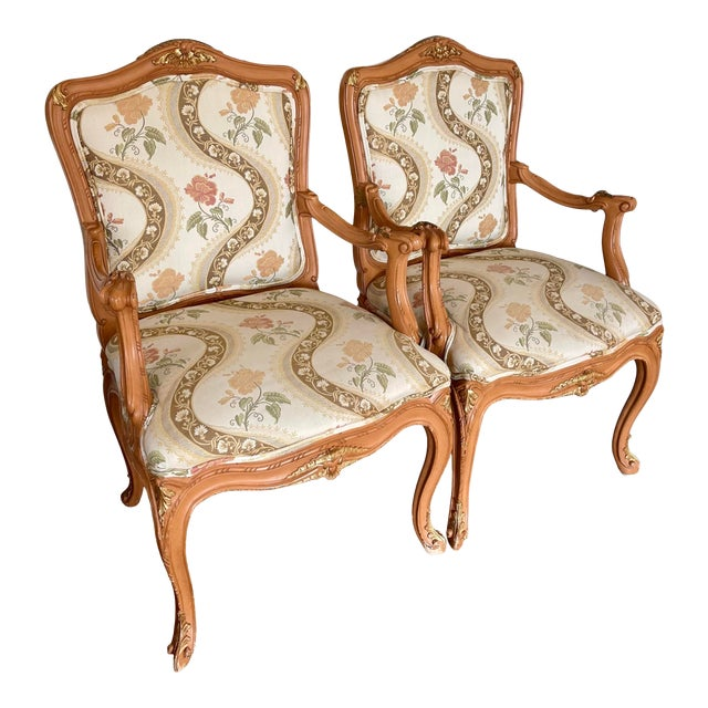 Lewis Mittman French Louis XV Style Arm Chairs - a Pair For Sale