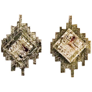 Brutalist Murano Sconces / Flush Mounts - a Pair For Sale