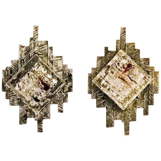 Brutalist Murano Sconces / Flush Mounts - a Pair For Sale