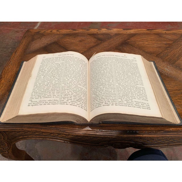 """19th Century English """"Life of Christ"""" Black Leather Bound Book With Gilt Dated 1857 For Sale - Image 4 of 9"""