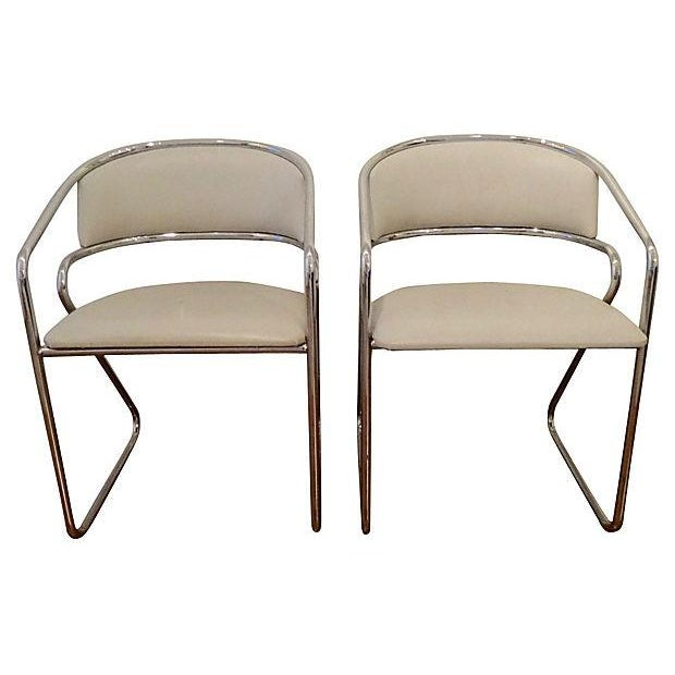 Italian Chrome Modernist Chairs - A Pair - Image 4 of 6