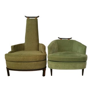Asian Style Mid-Century Chairs - A Pair