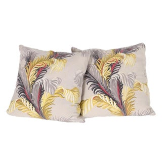 Feather Motif Bark Cloth Pillows - a Pair For Sale