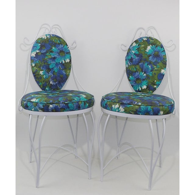 Mid-Century Modern Wrought Iron Patio Chairs - A Pair - Image 5 of 10