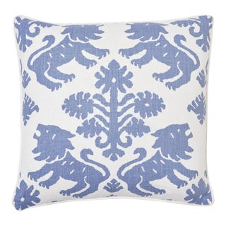Schumacher Regalia Pillow in Blue For Sale