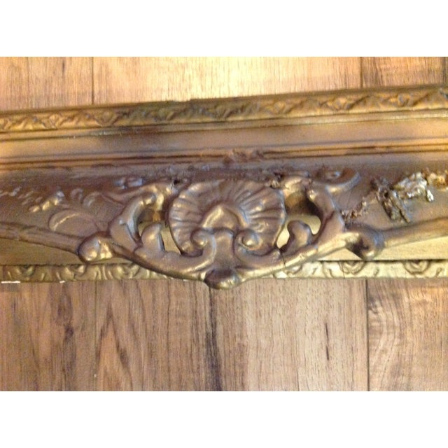 Antique Wood Hollywood Regency Large Frame Victorian White Shabby Chic - Image 5 of 11