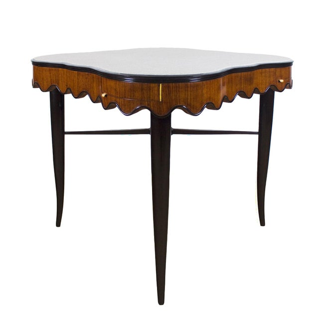 Brown 1940s Game Table, Mahogany, Corner Drawers, Brass, Felt, Italy For Sale - Image 8 of 8