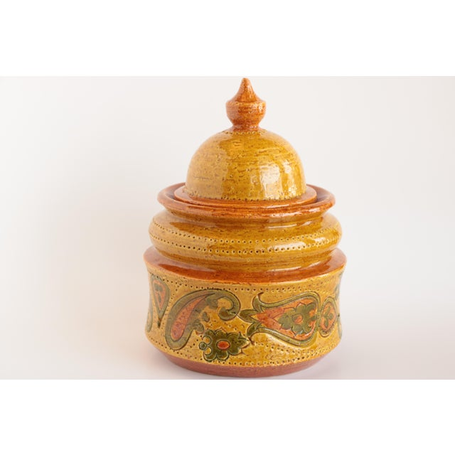 Aldo Londi for Bitossi Paisley Lidded Pottery Jar For Sale - Image 11 of 11