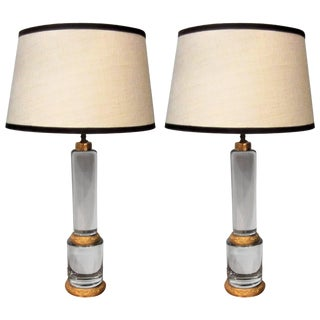 1950's Solid Crystal Column Lamps - A Pair