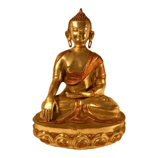 Circa Mid 20th Century Southeast Asian Mixed Metal Buddha For Sale
