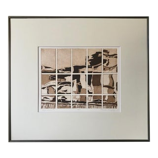 Vintage Abstract Mid Century Modernist Etching Reflections by Mirian Murphy For Sale