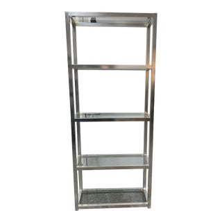 Modern Style Chrome + Glass Etagere For Sale