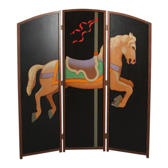 Image of 1990s Lynn Curlee Hand Painted Carousel Horse Folding Screen