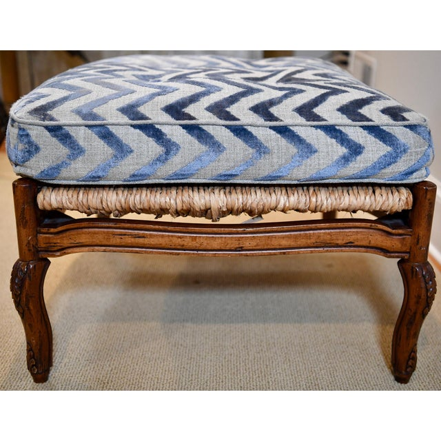 Fremarc Design Robert Allen Modern Oversized Contemporary French Bergere Upholstered Club Lounge Chair& Ottoman in Blue / Grey Geometric Zebra Pattern For Sale - Image 10 of 12