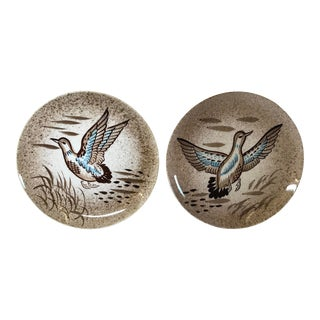 Vintage Mid Century Ceramic Duck Plates - a Pair For Sale