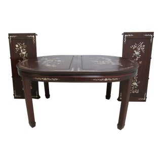 Vintage Rosewood Chinese Chippendale Mother of Pearl Dining Room Banquet Table For Sale