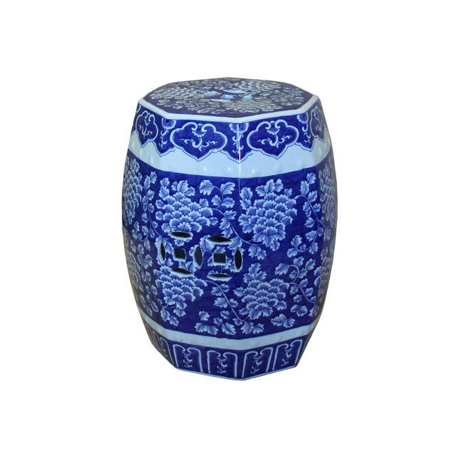 2010s Chinese Blue & White Porcelain Floral Theme Octagon Stool Table For Sale - Image 5 of 8