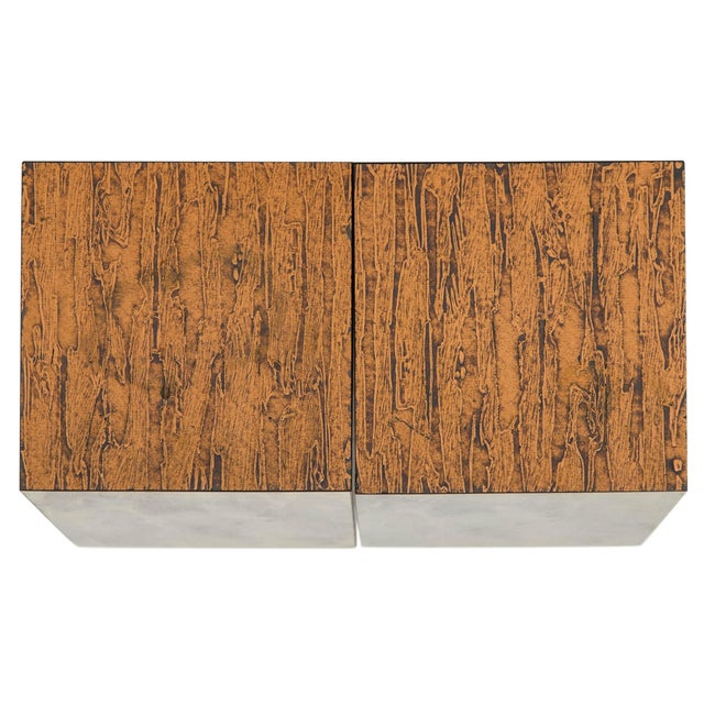 Mid 20th Century Copper Top Cube Side Tables, a Pair For Sale - Image 5 of 7