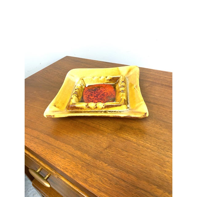 Red Vintage California Pottery Mid-Century Ashtray For Sale - Image 8 of 11
