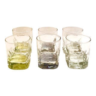 Vintage Iridescent Whiskey Glasses With Ice Glass Design - Set of 6 For Sale