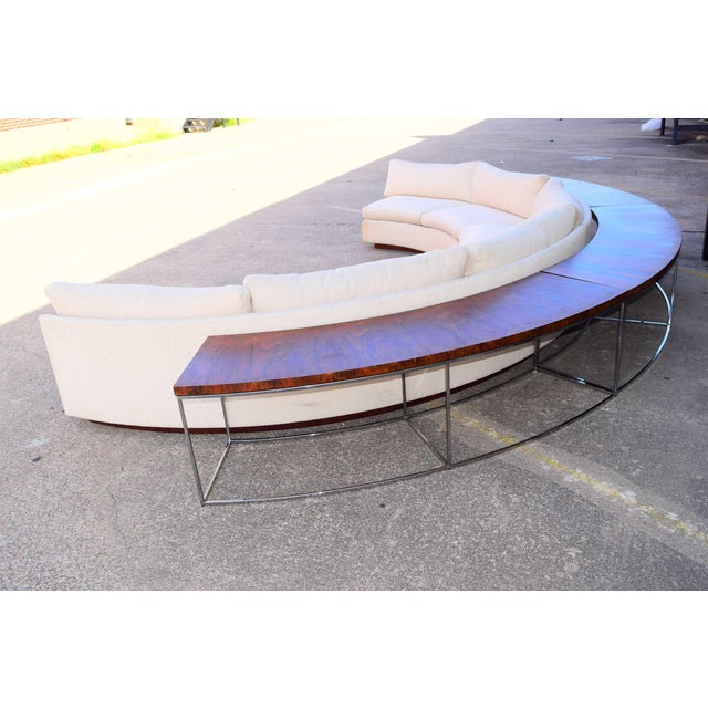White Milo Baughman Semi-Circular Sofa With Rosewood Tables For Sale - Image 8 of 13
