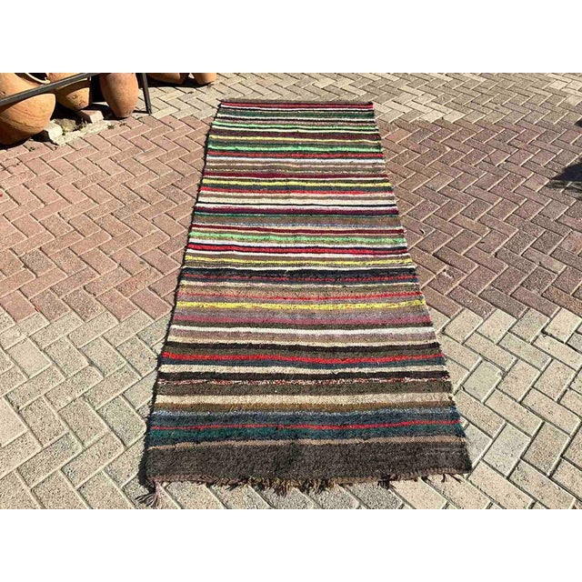 Vintage Striped Turkish Kilim Rug For Sale In Raleigh - Image 6 of 10