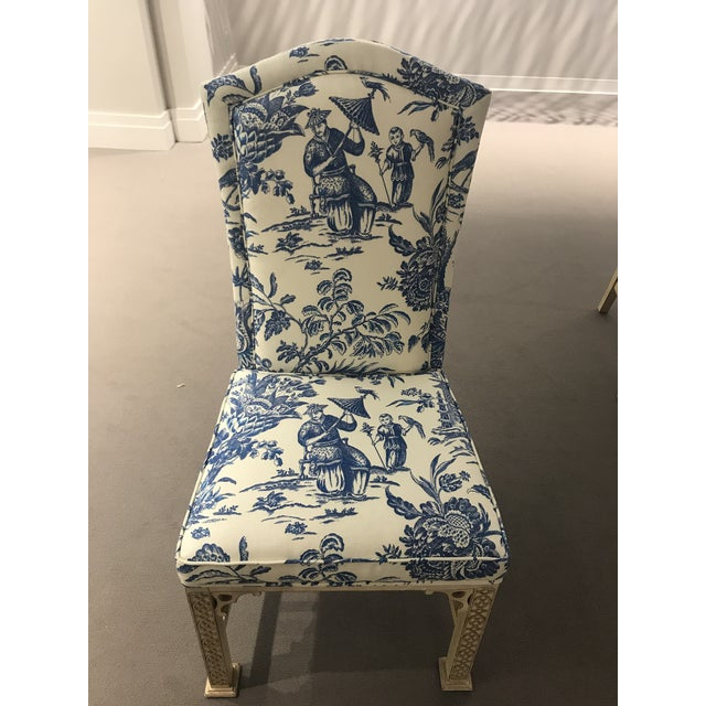 1990's Century Furniture set of 8 Chinese Chippendale dining chairs. Carved wood frame with newly upholstered blue and...