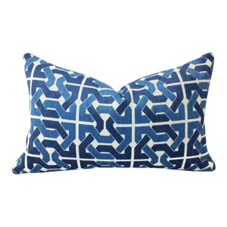 Groundworks Cliffoney Blue and White Lumbar Pillow Cover For Sale