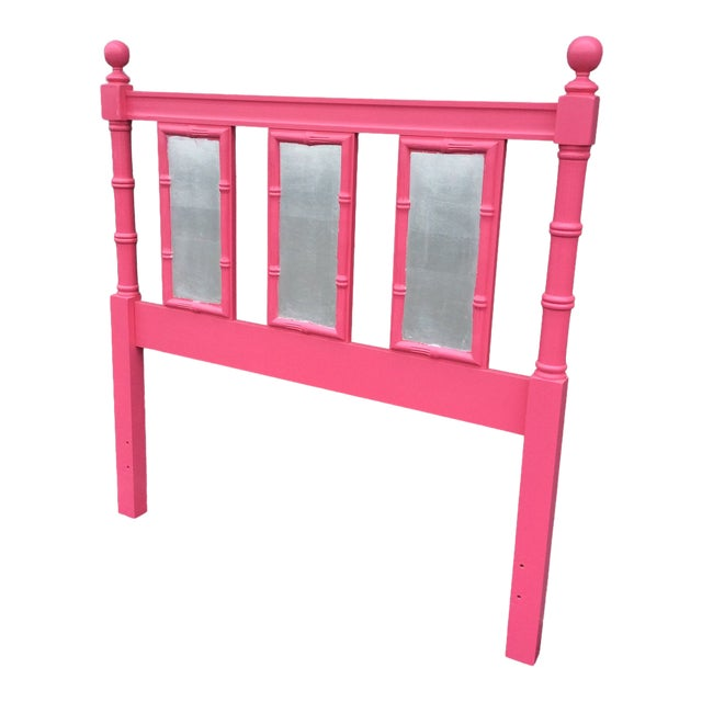 20th Century Hollywood Regency Hot Pink Lacquered Twin Headboard With Silver Leaf For Sale