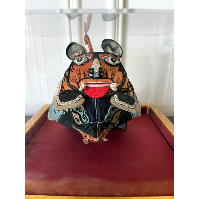 Framed Antique Chinese Child Tiger-Head Hat For Sale - Image 9 of 12