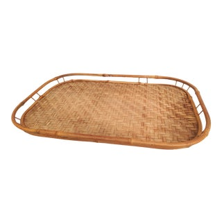 Boho Chic Bamboo Rattan Tray For Sale