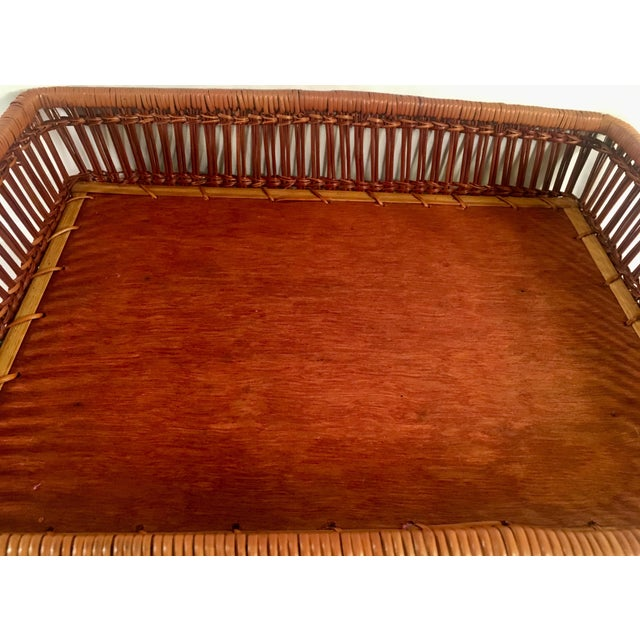 Mid-Century Rattan & Wood Leather-Handled Serving Tray For Sale - Image 4 of 13