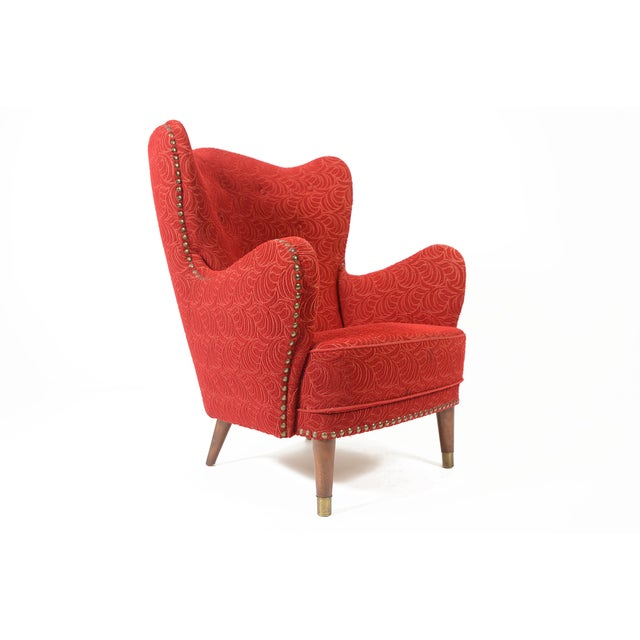 Danish Modern Crimson Frieze Club Chair - Image 2 of 11