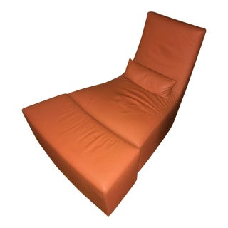 Modern Ligne Roset Leather Lounge Chair and Ottoman For Sale