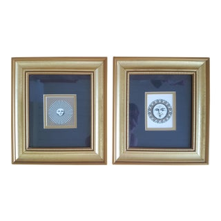 Vintage Piero Fornasetti Sun Prints Framed and Matted - a Pair