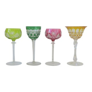 Set of 4 Colorful European Midcentury Crystal Glassware For Sale
