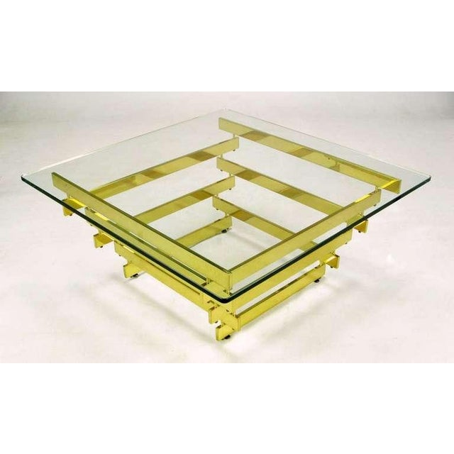 Hollywood Regency Architectural Stacked Solid Brass Bar & Glass Coffee Table For Sale - Image 3 of 9