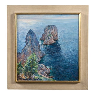 Isle of Capri Oil Painting Signed Matteo Sarno For Sale