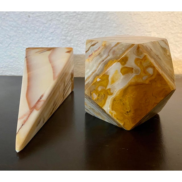 1970s Onyx Geometric Sculptural Desk Paperweights - a Pair For Sale - Image 5 of 7