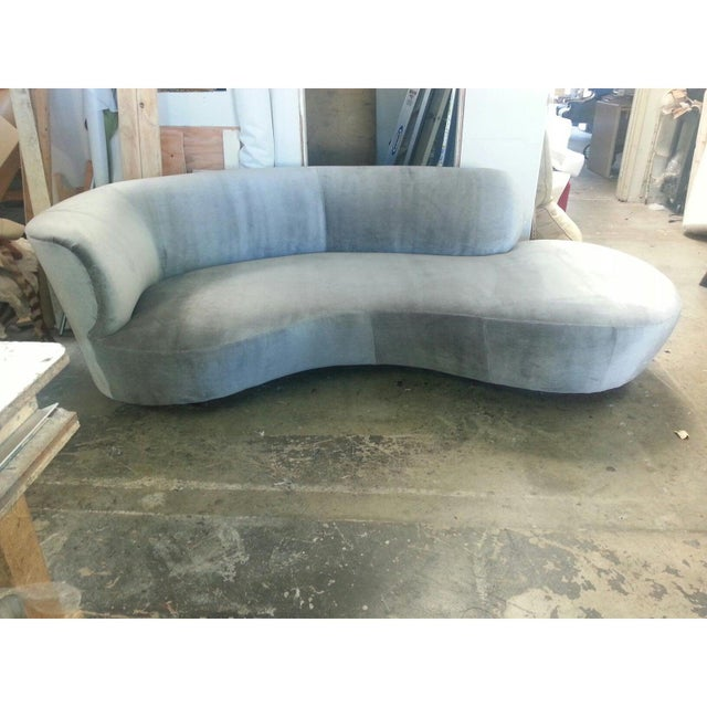 Modern chaise lounge . Chaise is done in a light blue cut velvet. The chaise is newly upholster d for the listing. Chaise...